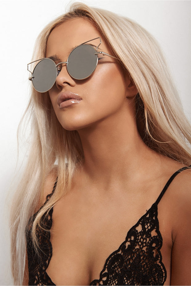 Rio Silver Circle Round Bar Sunglasses