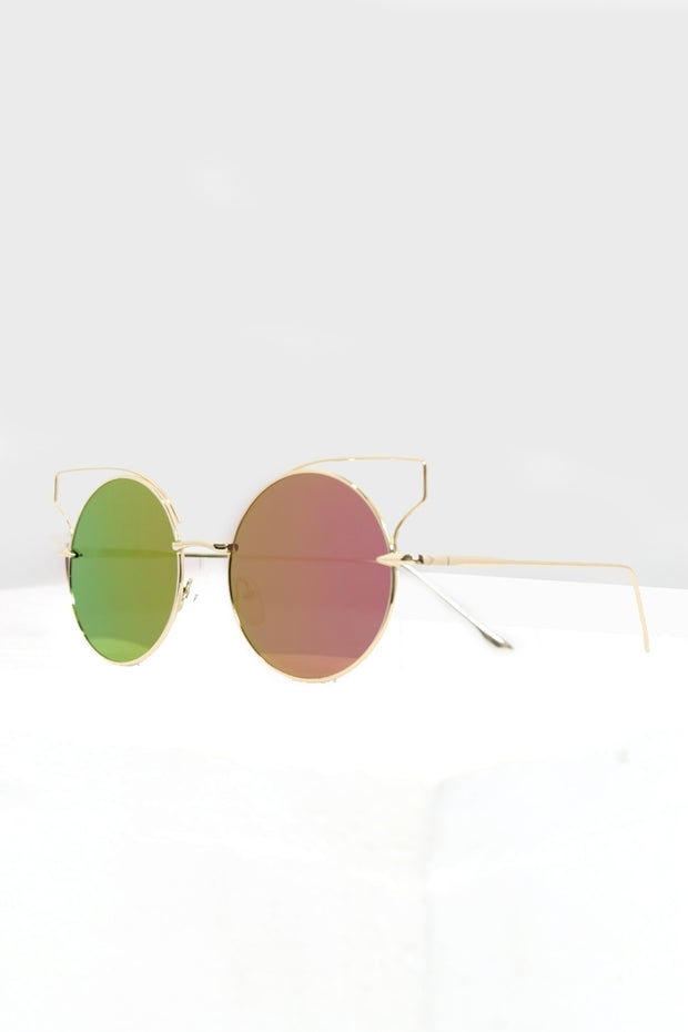 Rio Pink & Green Circle Round Bar Sunglasses