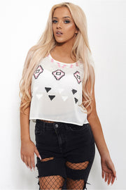 Freedom Sequin Aztec Vest Top In White