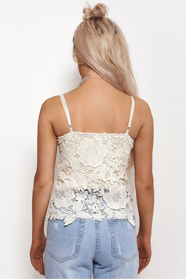 Liana Cream Crochet Bralet Top