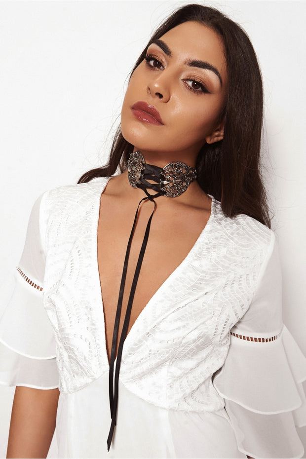 Art Deco Silver Metal Lace Up Choker