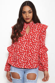 Nola Red Floral Blouse