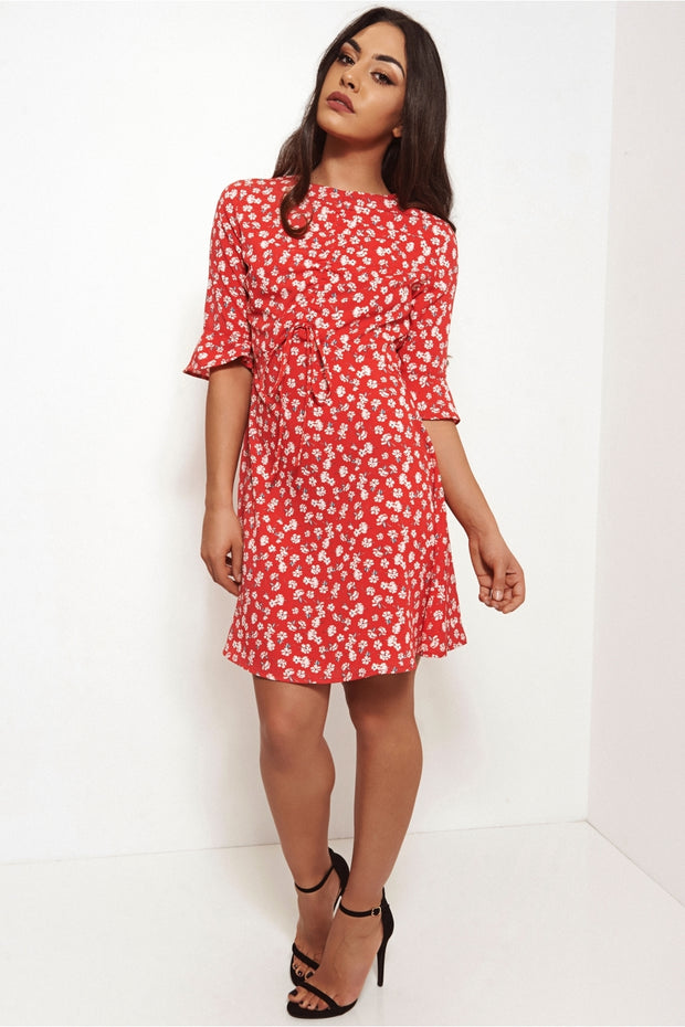 Poppy Red Floral Dress