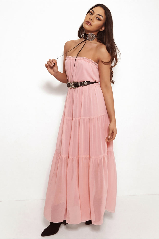 Pink Chiffon Goddess Maxi Dress