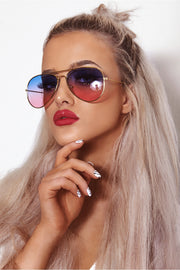 Sunset Pink & Blue Two Tone Sunglasses
