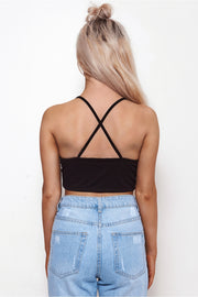 Alicia Black Satin Bralet Top