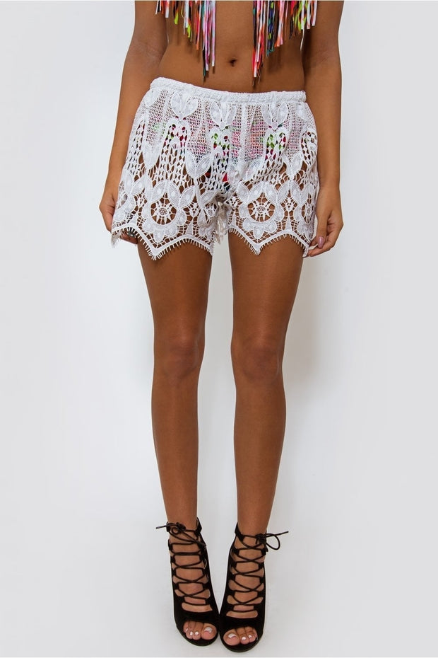 Malin White Lace Shorts