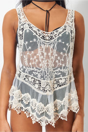 Kiki Beige Crochet Racer Back Vest Top
