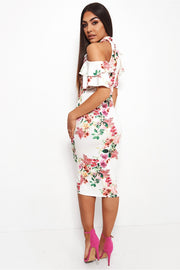 Tiana Floral Cold Shoulder Midi Dress