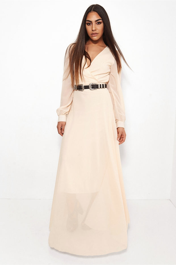Bella Cream Chiffon Maxi Dress