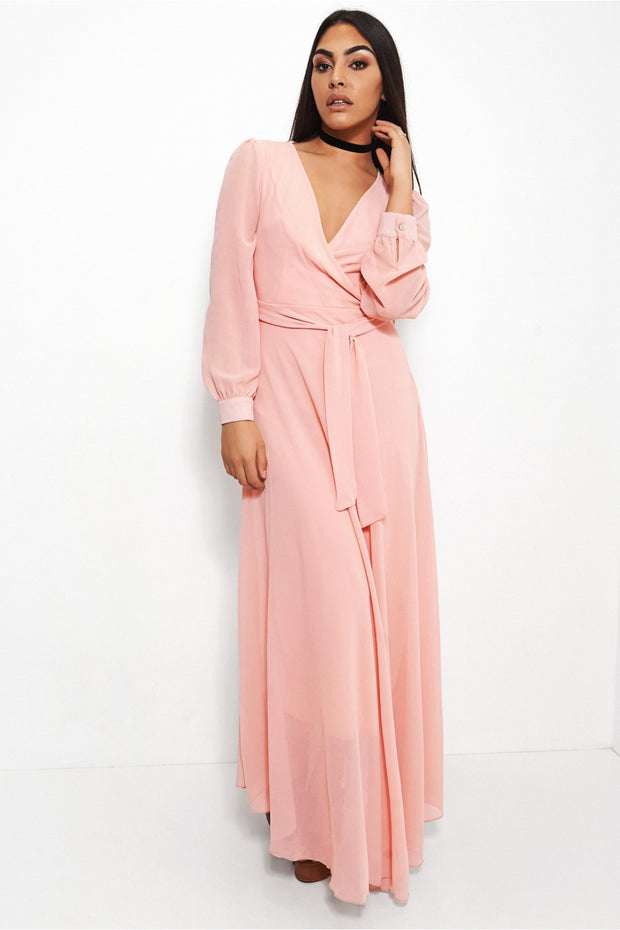 Bella Pink Chiffon Maxi Dress