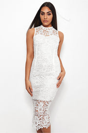 Brion White Crochet Backless Midi Dress