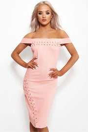 Megan Lace Up Nude Bardot Dress