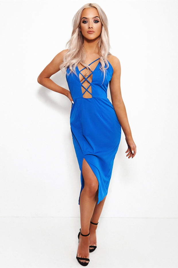 Dior Blue Lace Up Midi Dress