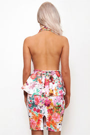 Pink Floral Backless Peplum Dress