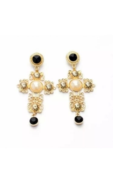 Gold & Black Pearl Cross Earrings