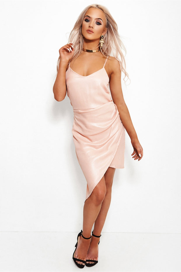 Nude Pink Shimmer Asymmetrical Midi Dress