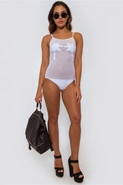 White Palm Tree Mesh Bodysuit