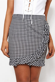 Molly Black Gingham Frill Skirt