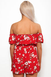 Motel Red Floral Bardot Playsuit
