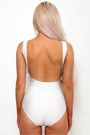 If Lost White Slogan Swimsuit