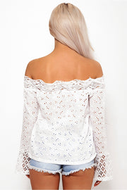Lilly White Crochet Bardot Top