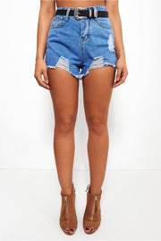 Evie High Waisted Distressed Denim Shorts