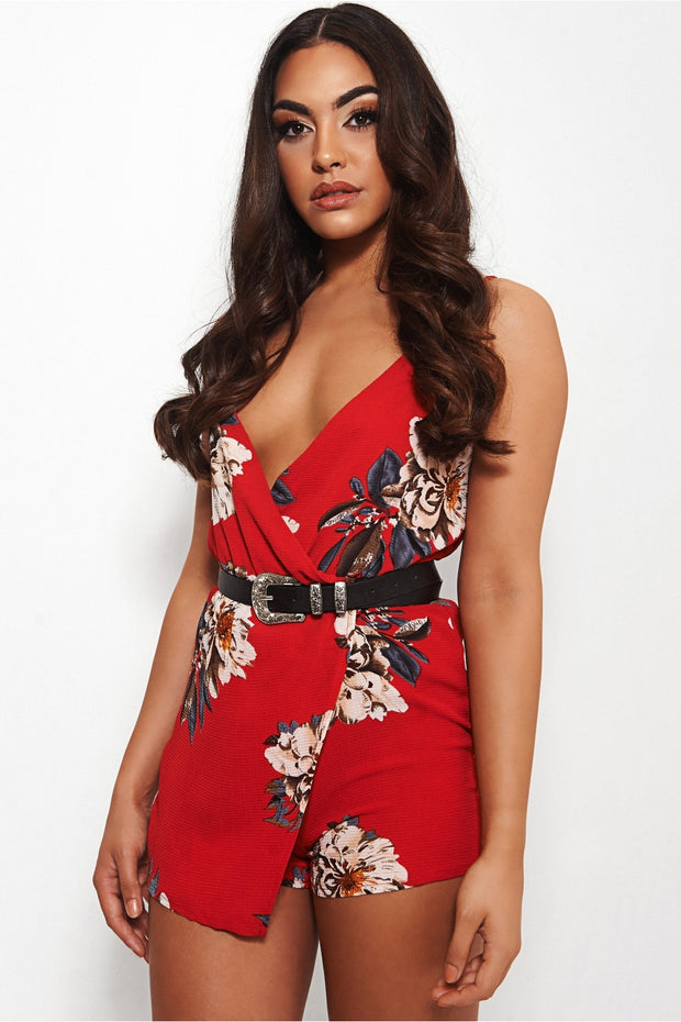 Demsi Red Tropical Playsuit