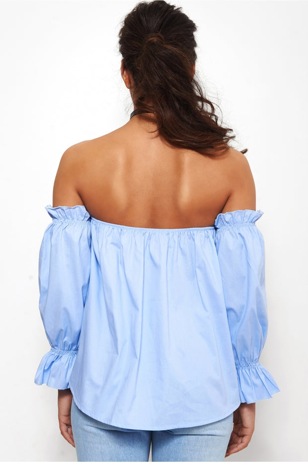 Eloise Blue Bardot Top