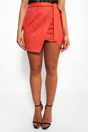 Shala Orange Suede Wrap Skirt