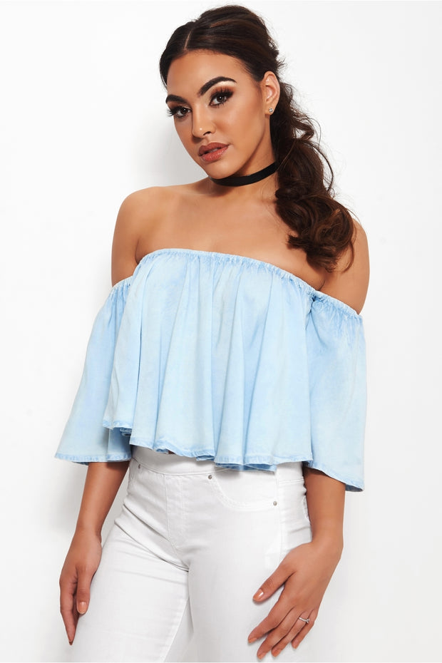 Christela Chambray Bardot Top