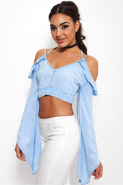 Fiji Chambray Cold Shoulder Cross Strap Top