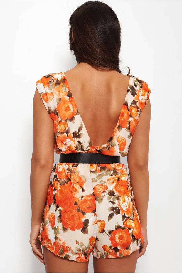 Romance Orange Floral Playsuit