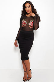 Pia Black Basic Pencil Skirt