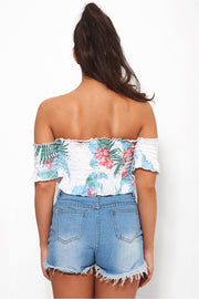 Ari Tropical Print Bardot Top