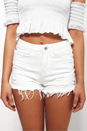 Darcy White Distressed Denim Shorts