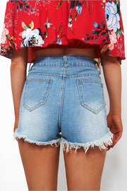 Indigo Distressed Denim Shorts