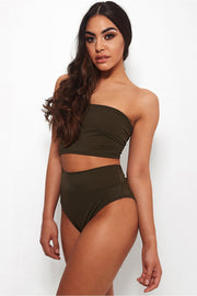 Lilly Khaki High Waisted Bandeau Bikini