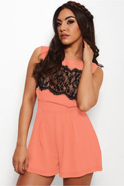 Pagan Coral Lace Playsuit