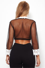 Connie Black Lace Mesh Crop Top