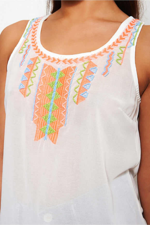 Marena Aztec Beaded Chiffon Vest Top