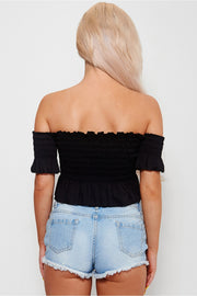 Marnie Black Frill Bardot Top