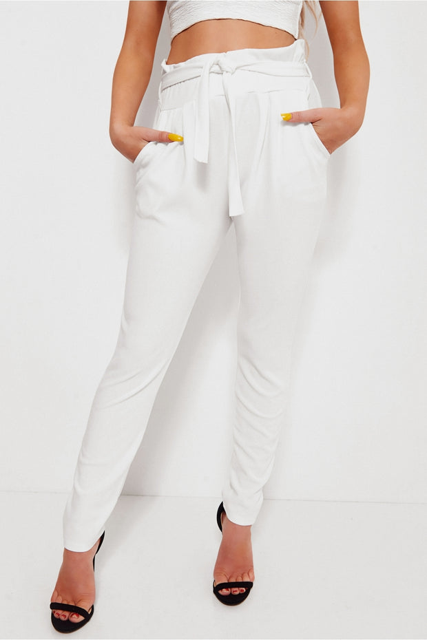 Prini White Tie Waist Trousers