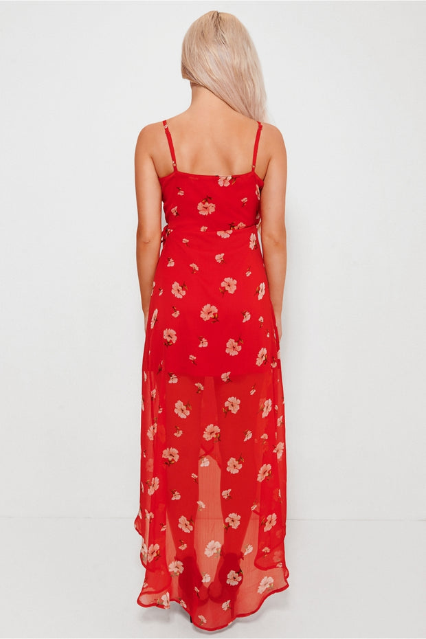 Tanya Red Chiffon Floral Maxi Dress