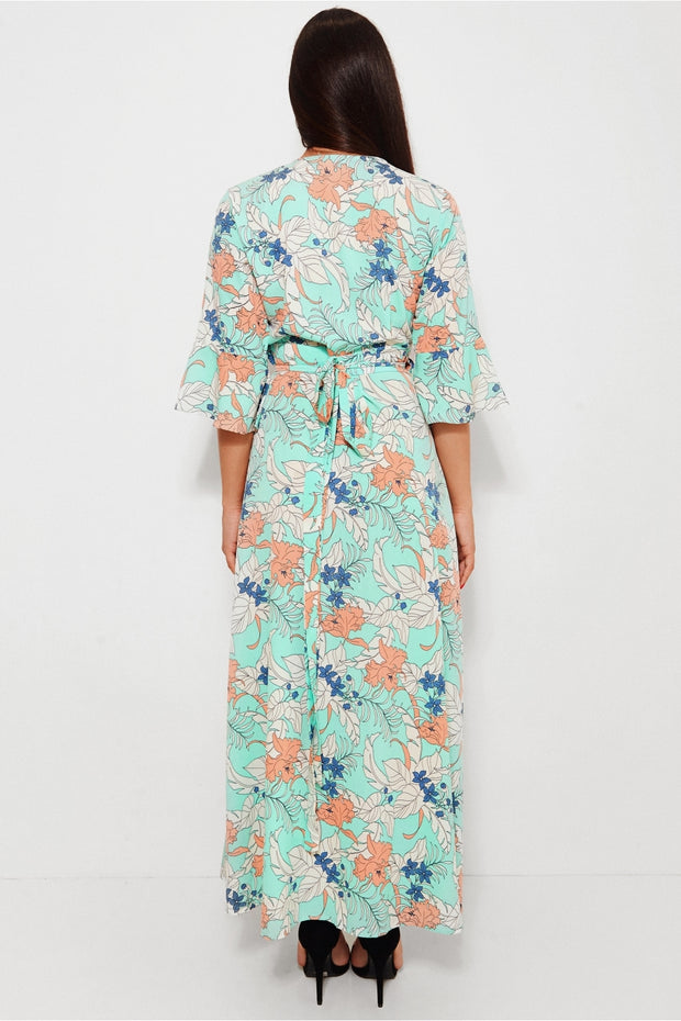 Sai Green Floral Print Maxi Dress
