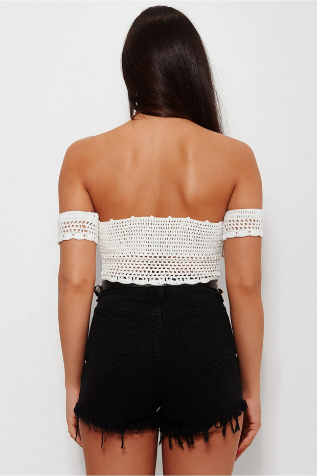 Koko White Crochet Bardot Top