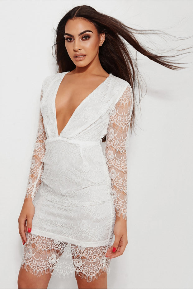 Kara White Lace Midi Dress