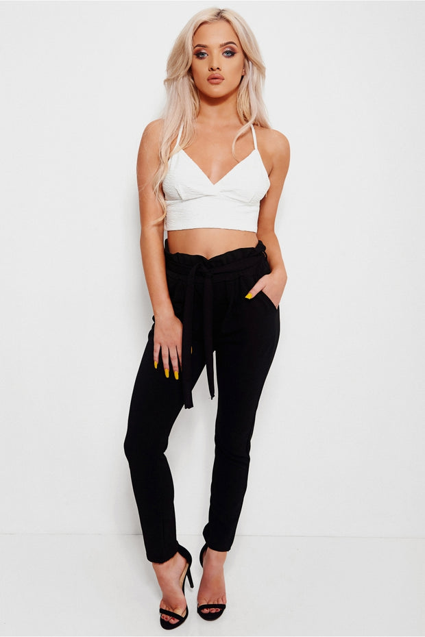 Prini Black Tie Waist Trousers
