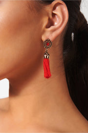 Koko Red Jewel Tassel Earrings