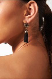 Koko Black Jewel Tassel Earrings